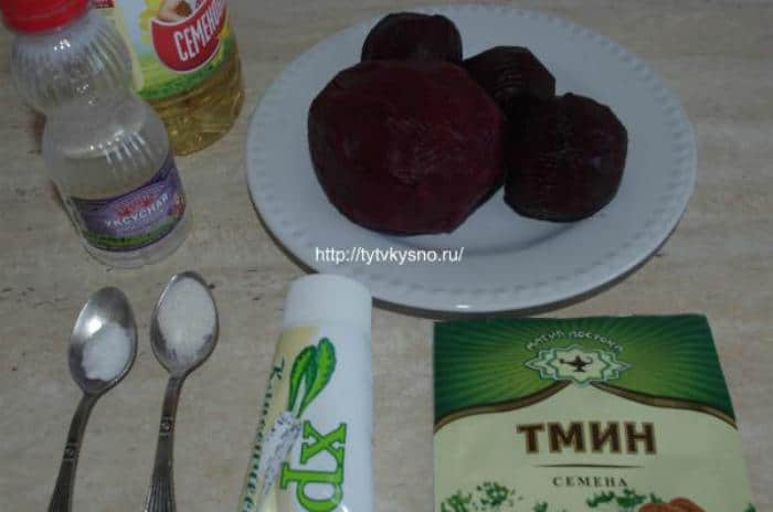 ингредиенты рецепта: салат из свеклы с хреном