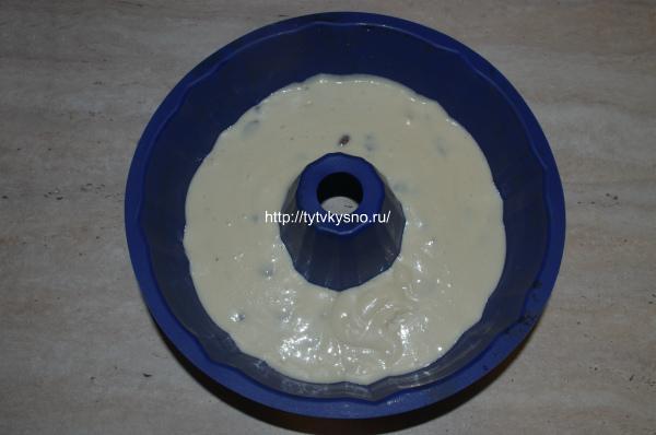 Тесто в формах силиконовых. Творожный кекс с изюмом (на растительном масле)
