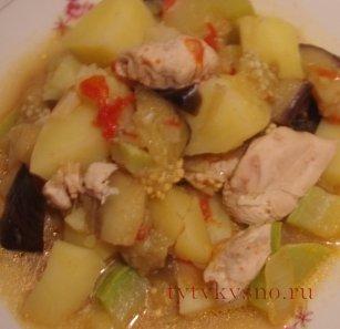 Как приготовить вкусное овощное рагу с курицей.