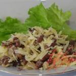 Салат с фасолью и грибами.