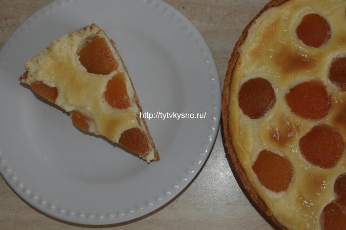 Фото заливного пирога с абрикосами