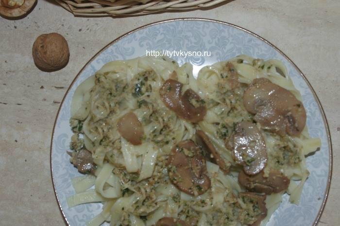 Паста с соусом песто-постное блюдо