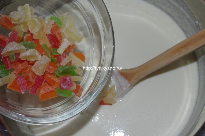 Рецепт заварной пасхи из творога: Добавляем в пасху цукаты и орешки