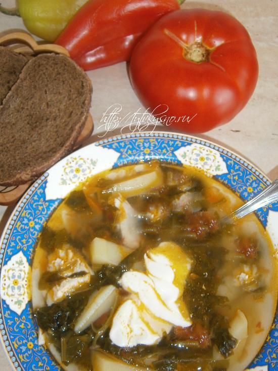 вкусный суп из щавеля на курином бульоне
