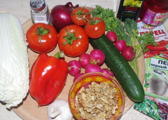 ингредиенты вкусного овощного салата Глехуард
