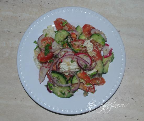 красивый и вкусный, простой овощной салат, рецепт с фото салата глехуард