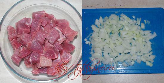 Пошаговый фото рецепт армянской кюхты  1. Парную телятину режут на кусочки.  2.Мелко крошат лук.