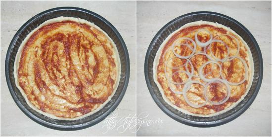 для пиццы: Смазываем раскатанный лист теста соусом, сверху выкладываем порезанный кольцами лук.
