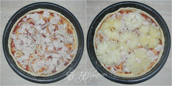 для рецепта: Пицца. Рецепт пиццы с курицей и ананасами. Сверху лука выкладываются кусочки куриного филе и далее ананас.  Если консервированный ананас идет кольцами, то его лучше предварительно порезать на четвертинки.