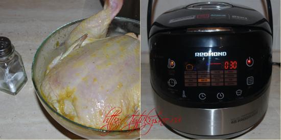 рецепт курица целиком в мультиварке: за полчаса до приготовления курицу натираем солью.