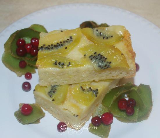 Перевернутый пирог, рецепт с киви вкусный