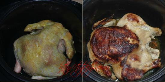 Для рецепта запеченная целая курица в мультиварке: Через 30 минут открываем чашу мультиварки, переворачиваем курицу, закрываем крышку и еще готовим 30 минут.