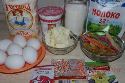 ингредиенты вкусного рецепта кулич на молоке и сметане
