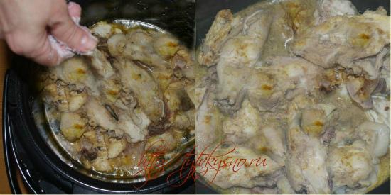 для рецепта курица в мультиварке в собственном соку  солим курицу