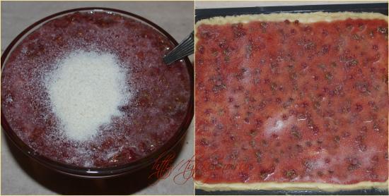 Как я уже отмечала, в варенье, во избежание того, что оно может вытечь из пирога, можно добавить 2 столовых ложки манной крупы.  Варенье распределяется по листу теста.