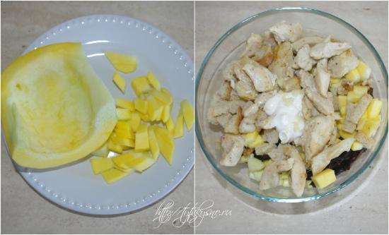 для салата из курицы с тыквой и черносливом  тыкву режем на кусочки