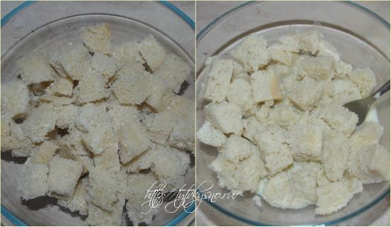 5.С хлеба или батона срезаем корку. Режем хлеб на небольшие кусочки. Заливаем хлебные кусочки подготовленным яично-молочным соусом и разминаем хлеб.