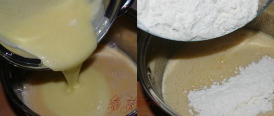 рецепт простой медовый торт: 5.Переливаем медовую смесь в яичную, смешиваем и насыпаем небольшими порциями муку.