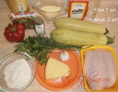 ингредиенты для запеканки из кабачков с фаршем