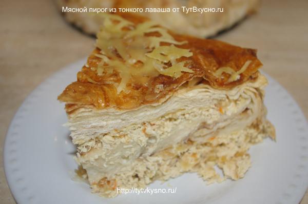 аппетитный, вкусный кусочек пирога из тонкого лаваша с мясной начинкой