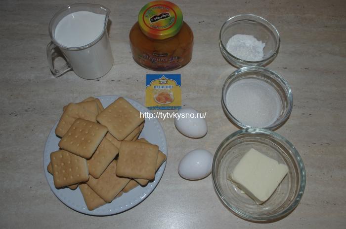 Ингредиенты рецепта заливного пирога с абрикосами