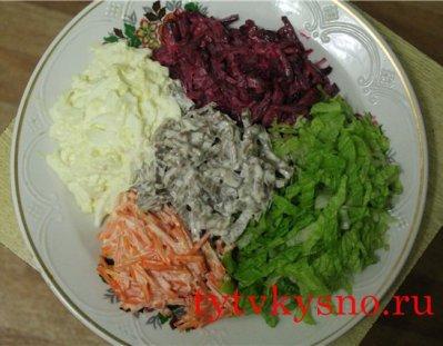 очень вкусный Cалат из овощей и отварного языка.