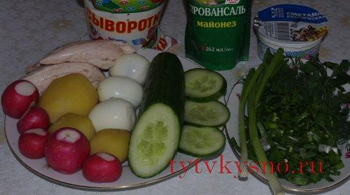 Ингредиенты для рецепта Как приготовить окрошку на сыворотке