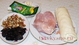 Шарики из слоеного теста с курицей