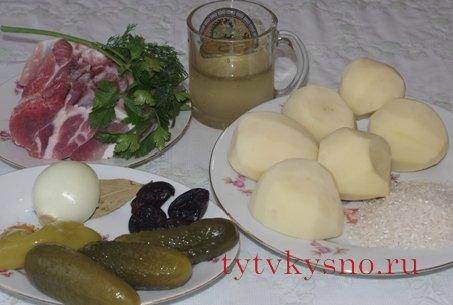Ингредиенты для рецепта Как приготовить вкусный рассольник.