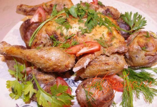 Курица запеченная на соли.