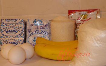Творожный кекс с бананом.