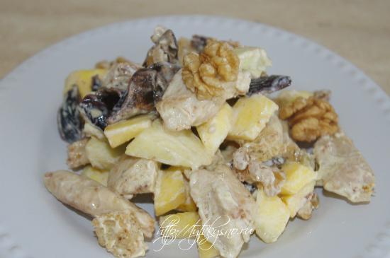 фото самого вкусного салата с курицей тыквой и черносливом