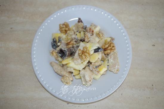 рецепт салата из курицы с тыквой и черносливом