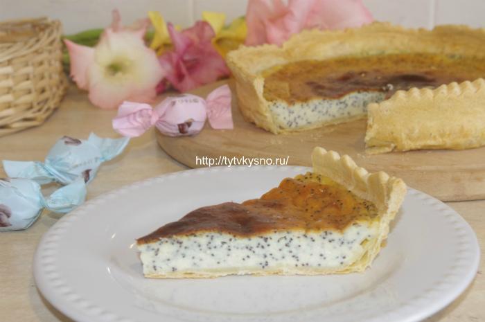 Простой пирог с маком открытый со сметаной