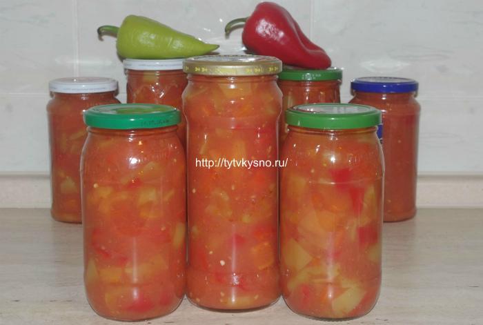 лечо из перца и помидор классический