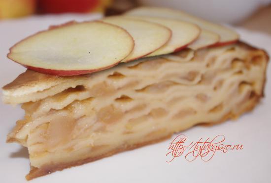 очень вкусный блинный пирог с яблоками