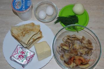 """ингредиенты для рецепта """"Блинчатый пирог с грибами"""""""