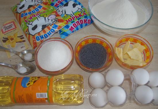 Ингредиенты рецепта блинный торт с маком Маковка