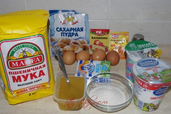 ингредиенты рецепта простой медовый торт