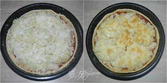 для рецепта: Пицца. Рецепт пиццы с курицей и ананасами:Сверху все засыпается слоем тертого сыра и делается сеточка из майонеза.