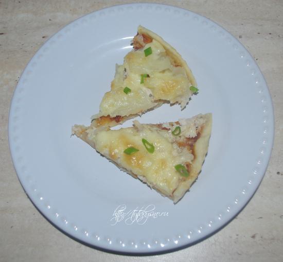 Фото пиццы. Рецепт пиццы с курицей и ананасами.