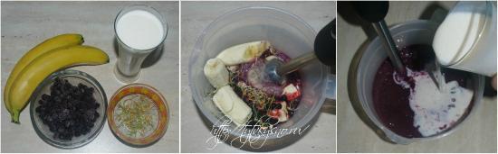 ингредиенты и пошаговый фото рецепт: смузи с проросшими зернами пшеницы, черникой и бананами