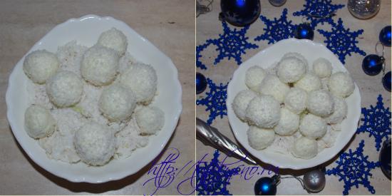 Выкладываем шарики-снежки на салат.