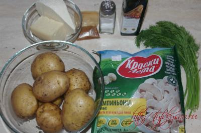 Ингредиенты для рецепта Картофельный пирог с сыром и грибами Рецепт для сковороды или духовки