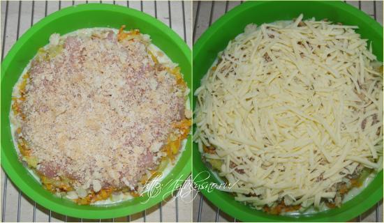 11.Посыпаем куриное филе молотыми сухарями.  12.И завершающий слой-тертый сыр.