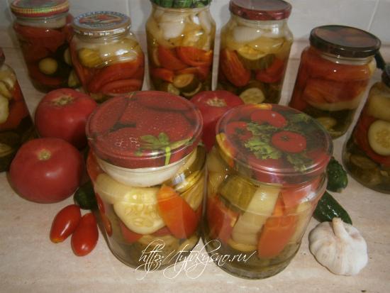 салат на зиму из помидор огурцов перца с желатином