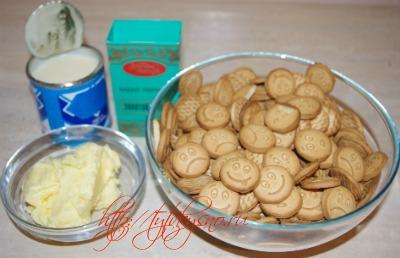 Ингредиенты Сладкая колбаска из печенья и какао