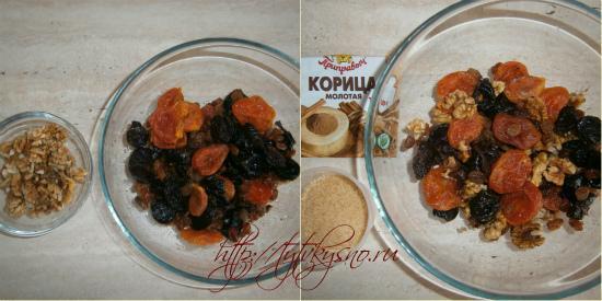 рецепт фаршированная тыква: Сухофрукты и орехи необходимо хорошенько промыть Смешиваем сухофрукты и орехи, добавляем в них корицу и сахар.